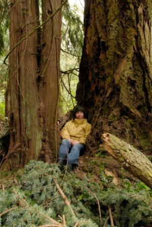 Heidi at old, large tree in Bulis Preserve.