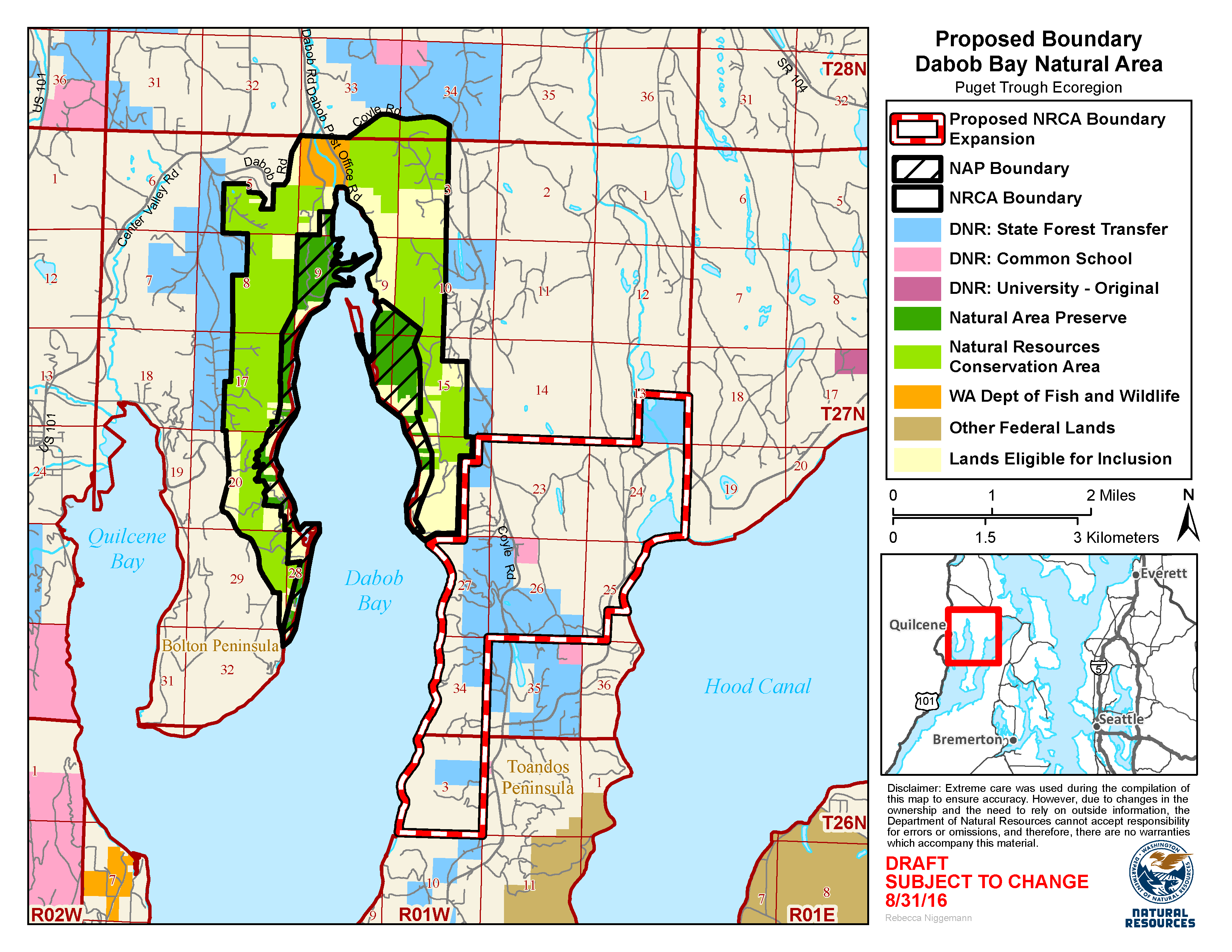 Map of the proposed boundary expansion of the Dabob Bay Natural Resource Conservation Area